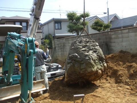 庭石を据える